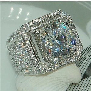 NEW💎925 Sterling Silver Women's Diamond Halo ring